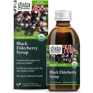 Gaia Herbs Black Elderberry Syrup - Daily Immune Support with Antioxidants